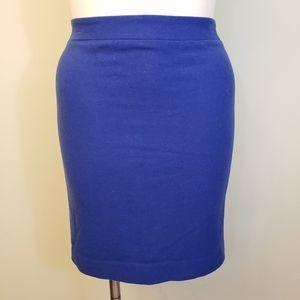 J. Crew The Pencil Skirt Blue Wool Size 8